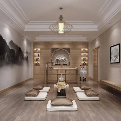 书房, 茶桌, 书桌, 单人椅, 装饰画, 吊灯, 脚踏沙发, 石狮子, 装饰架, 书籍, 日式