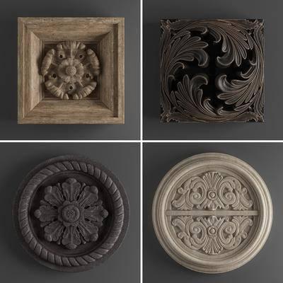 盘子装饰, 圆盘, 石膏, 实木, 雕花, 构建组合, 组合, 欧式, 欧式盘子装饰