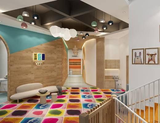 儿童床, 玩具, 幼儿园, 大厅, 卡通, 现代, 沙发, 挂画