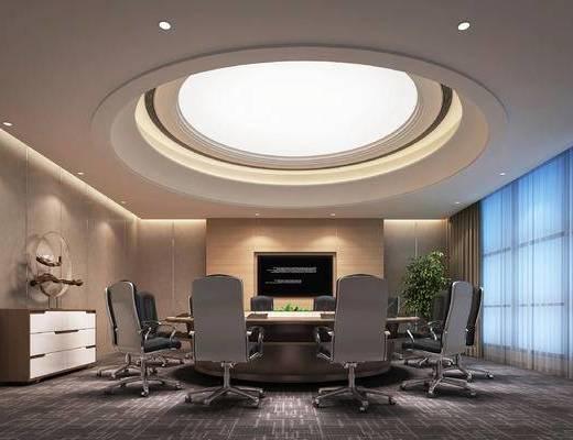 会议室, 会议桌, 办公椅, 绿植, 装饰柜, 摆件