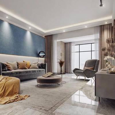 現代客廳, 現代餐廳, 北歐客廳, 沙發組合, 電視柜, 吊燈, 餐桌, 椅子