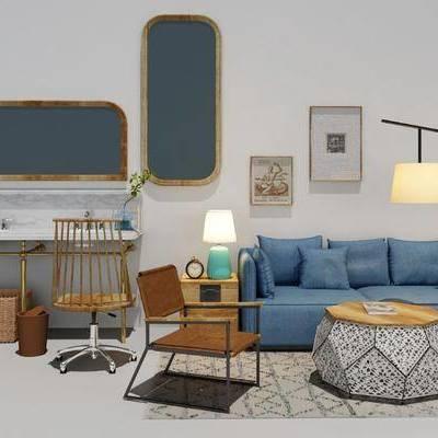 沙发组合, 书桌椅, 落地灯, 沙发茶几组合, 现代, 北欧