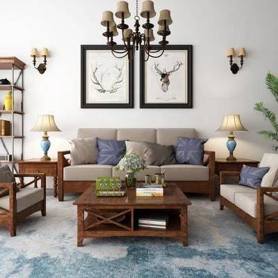 多人沙发, 单人沙发, 茶几, 边几, 摆件, 装饰画, 台灯, 吊灯, 书架, 壁灯, 绿植, 美式, 地毯