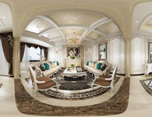 欧式, 餐厅, 客厅, 家装