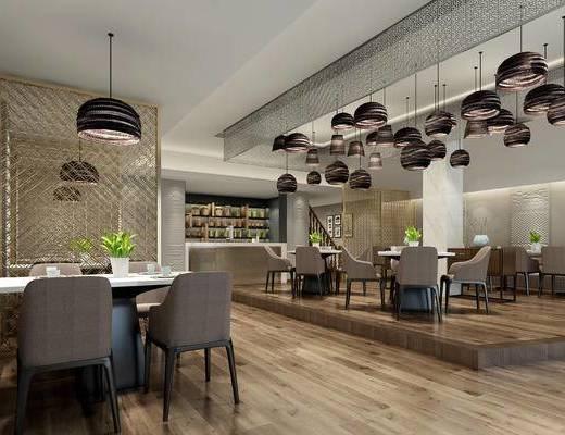 咖啡店, 餐厅, 吊灯, 餐桌椅, 桌椅组合, 奶茶店