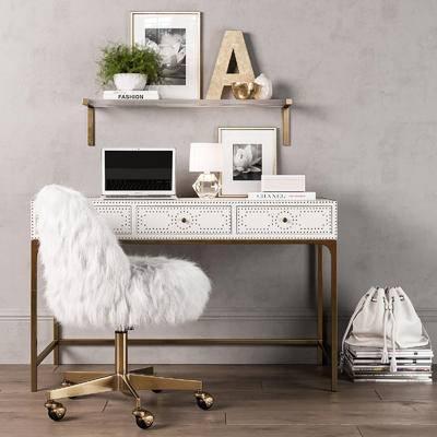 书桌, 椅子, 单椅, 陈设品, 摆件, 现代, 书籍
