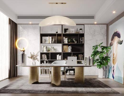 书桌, 桌椅组合, 吊灯, 书柜, 植物, 装饰品