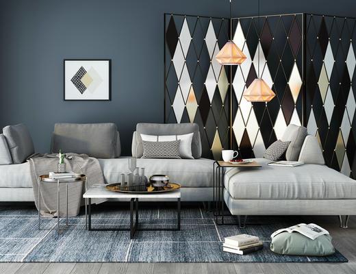 北欧简约, 沙发茶几组合, 吊灯, 茶具组合