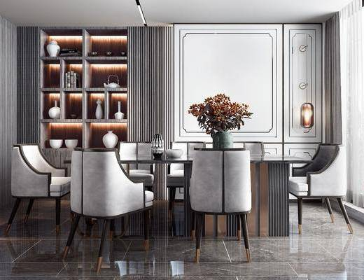 餐厅, 餐桌, 桌椅组合, 花瓶, 吊灯, 摆件