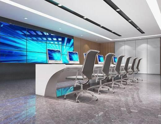 会议室, 单椅, 监控室, 屏幕