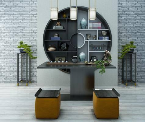 茶室, 茶桌, 茶具, 凳子, 装饰架, 盆栽, 绿植植物, 摆件, 装饰品, 陈设品, 装饰柜, 吊灯, 新中式