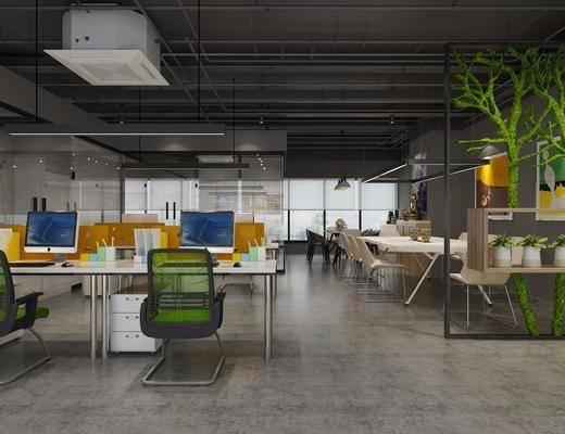 办公室, 桌椅组合, 办公桌, 办公椅, 单椅, 工业风办公室, 工业风, 置物架, 植物, 盆栽, 经理办公室, 会议室, 会议桌, 边柜, 摆件, 装饰品, 茶具, 书籍, 书柜, 书本