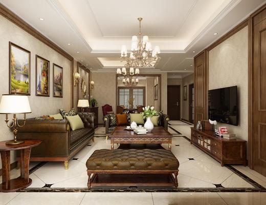 美式, 客餐厅, 美式客厅, 沙发组合, 美式沙发, 沙发茶几组合