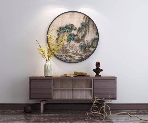 玄关柜, 电视柜, 端景台, 花瓶摆件, 装饰画, 挂画, 花卉, 干树枝, 新中式
