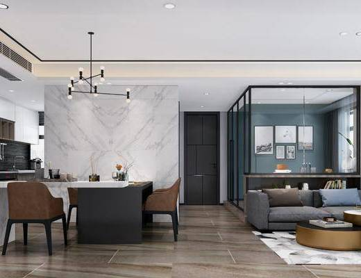 客厅, 餐厅, 家装全景, 沙发组合, 沙发茶几组合, 桌椅组合, 橱柜组合, 厨具组合, 吊灯, 现代