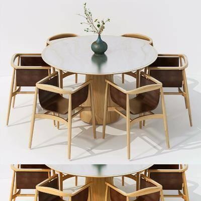 桌椅组合, 新中式桌椅组合, 餐桌
