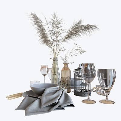 餐具组合, 花瓶, 植物, 摆件组合