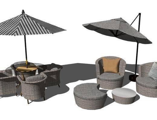 单椅, 单人沙发, 遮阳棚, 茶几, 抱枕