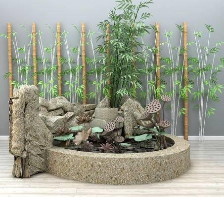 园林小品, 荷花池, 竹子, 石头, 假山, 池塘, 园艺小品, 装饰品摆件