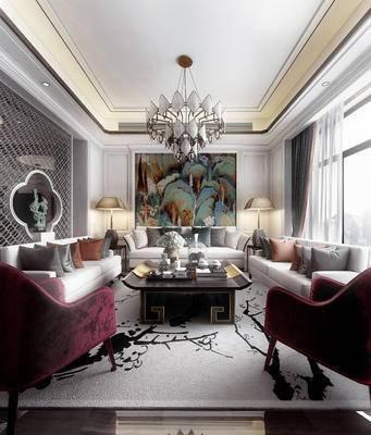 新中式, 新中式会客厅, 会客厅, 沙发组合, 新中式茶几, 吊灯
