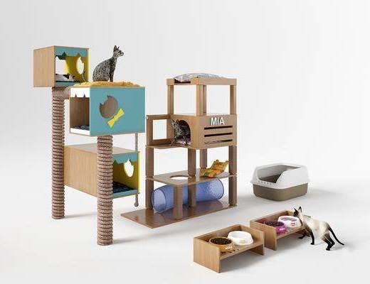 宠物猫, 猫爬架, 猫窝, 猫别墅, 猫砂, 猫粮, 猫碗, 坐垫, 宠物玩具, 宠物用品, 现代