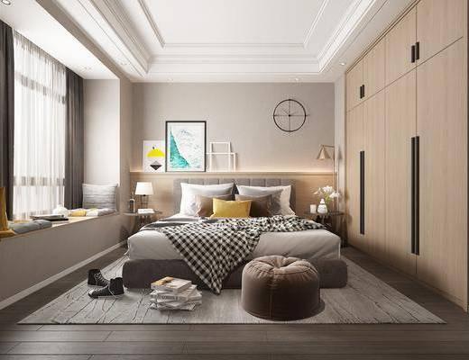 卧室, 双人床, 床头柜, 落地灯, 台灯, 脚踏沙发, 装饰画, 挂画, 衣柜, 装饰柜, 榻榻米, 墙饰, 北欧
