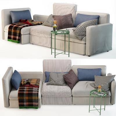 多人沙发, 单人沙发, 抱枕, 布艺, 玻璃瓶, 现代