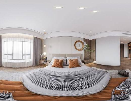 现代卧室全景, 家装