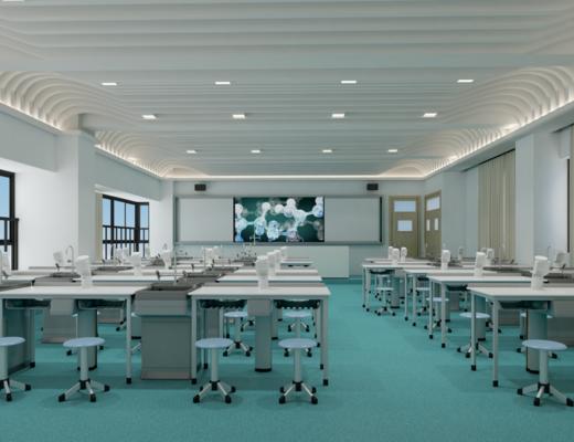 化学课室, 化学教室, 桌子, 单人椅, 洗手台, 书桌, 凳子, 现代