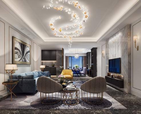 客厅, 多人沙发, 边几, 台灯, 装饰画, 挂画, 单人椅, 单人沙发, 茶几, 电视柜, 装饰柜, 壁灯, 吊灯, 餐桌, 餐椅, 边柜, 摆件, 装饰品, 陈设品, 现代