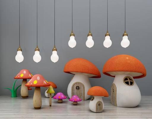儿童吊灯, 灯泡吊灯, 玩具, 香菇, 蘑菇屋, 城堡, 园艺小品, 装饰品摆件