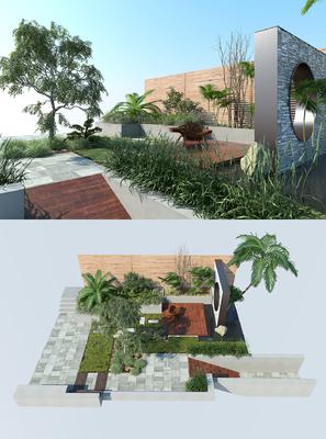 花园庭院, 绿植, 植物, 树木, 现代