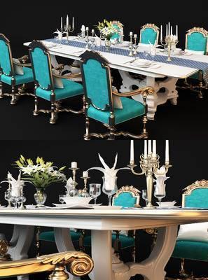 欧式, 餐桌椅, 餐具, 摆件