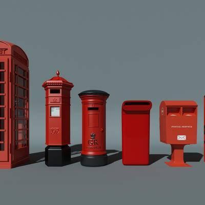 公共设施, 邮筒, 邮箱, 电话亭, 现代, 模型