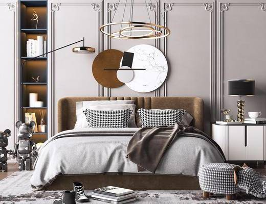 床头柜, 艺术吊灯, 落地灯, 双人床, 床具组合, 墙饰