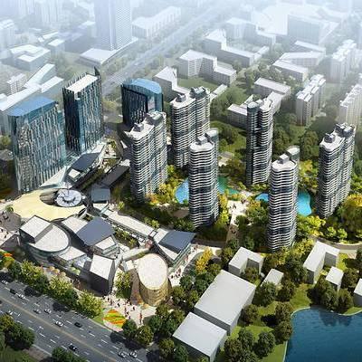 商业住宅, 鸟瞰, 建筑, 现代