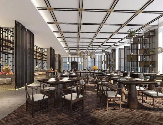 主题餐厅, 餐桌, 单椅, 置物架, 吊灯, 食物, 新中式