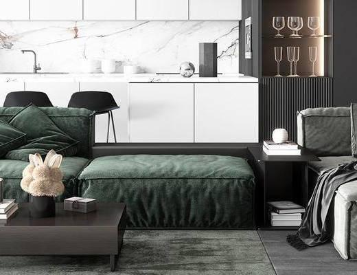 沙发组合, 茶几, 摆件组合, 落地灯, 橱柜组合