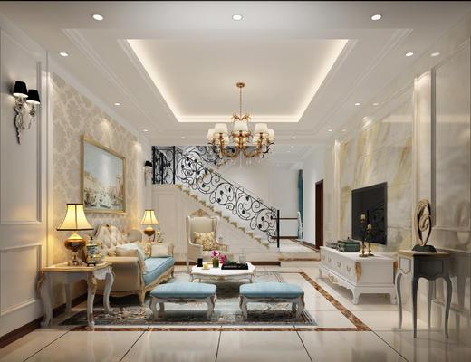 客厅, 欧式客厅, 欧式沙发, 沙发组合, 沙发茶几组合, 吊灯