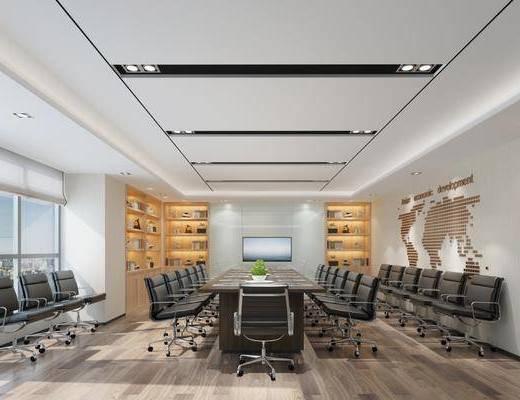 会议室, 现代会议室, 桌椅组合, 书柜, 书籍, 摆件组合