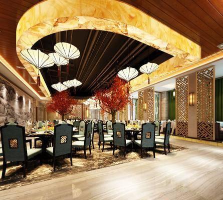 酒店餐厅, 桌椅组合, 餐桌, 餐椅, 单人椅, 吊灯, 壁灯, 餐具, 树木, 绿植植物, 现代