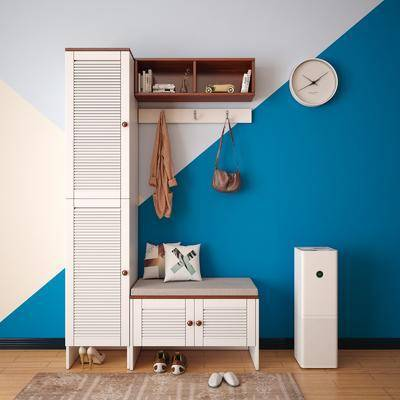 美式田园鞋柜, 鞋柜, 衣帽架, 时钟, 吊柜