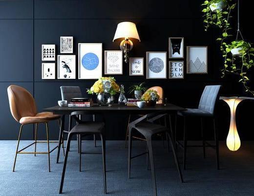 餐桌, 餐椅, 单人椅, 装饰画, 挂画, 照片墙, 壁灯, 落地灯, 盆栽, 摆件, 装饰品, 陈设品, 北欧