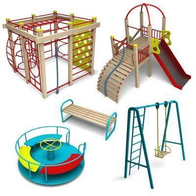 儿童设施, 滑梯, 秋千, 户外设施, 现代