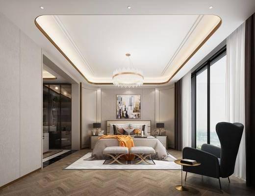 双人床, 床具组合, 装饰画, 吊灯, 单椅, 衣柜