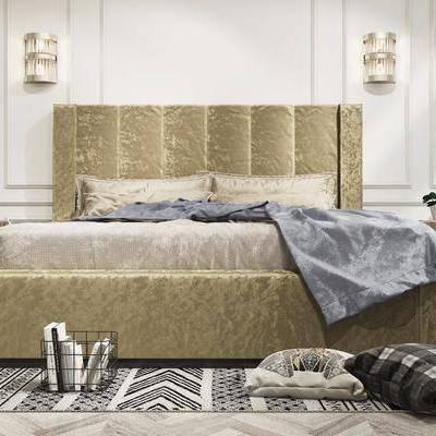 床具, 双人床, 壁灯, 圆几, 抱枕, 摆件, 装饰品, 后现代
