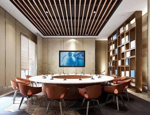 会议室, 圆形会议桌, 单人椅, 装饰柜, 新中式