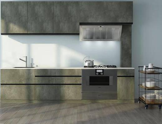 厨房, 洗手台, 油烟机, 推车, 摆件, 现代