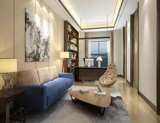 经理室, 办公室, 装饰画, 沙发茶几组合, 沙发组合, 桌椅