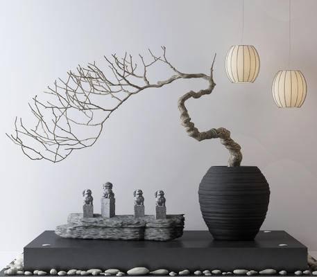 中式, 装饰摆件, 吊灯, 鹅卵石, 干树枝